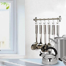 Load image into Gallery viewer, Kitchen squelo kitchen sliding hooks solid stainless steel hanging rack rail with utensil removable s hooks for towel pot pan spoon loofah bathrobe wall mounted