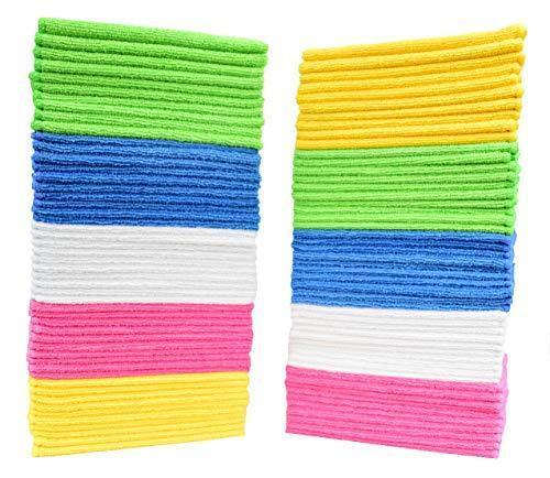 Latest cleaning solutions 79130 microfiber cleaning cloths pack of 50 large size ideal for home kitchen auto glass and pets 5 colors included