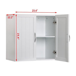 Storage organizer white wall mounted wooden kitchen cabinet bathroom shelf laundry mudroom garage toiletries medicines tools storage organizer cupboard unit ample storage space solid construction stylish modern design