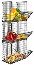 Load image into Gallery viewer, Get hanging fruit basket rustic shelves metal wire 3 tier wall mounted over the door organizer kitchen fruit produce bin rack bathroom towel baskets fruit stand produce storage rustic decor shabby chic