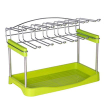 Load image into Gallery viewer, Buy 3 tier mug organizer rack with drainer tray 12 hooks for drying wine glasses coffee mugs tea cups space saving storage holder for kitchen cabinet counter tabletop stainless steel plastic