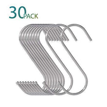 Load image into Gallery viewer, Budget friendly 30 pack large s shaped hanging hooks s hangers for kitchen office bathroom cloakroom and garden heavy duty s hooks by krendr