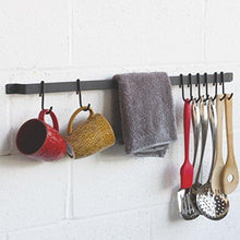 Load image into Gallery viewer, Order now wallniture kitchen rail organizer iron hanging utensils rack with hooks frosty black 30 inch