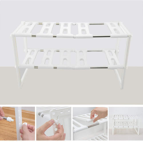 Best 2 tier kitchen shelf organizers rack meoket classic korean style adjustable bathroom cabinet shelf organizer stainless steel storage rack expandable under sink organizer white us stock