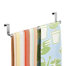 Load image into Gallery viewer, Best binovery adjustable expandable kitchen over cabinet towel bar hang on inside or outside of doors storage for hand dish tea towels 9 25 to 17 wide 2 pack brushed stainless steel