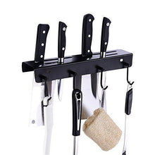 Load image into Gallery viewer, Save ucas rustic kitchen rail organizer with 4 hooks and 4 knife holders wall mount stainless steel pot pan lid holder rack matte black
