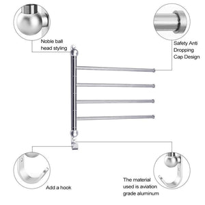 Top swivel towel bar for bathroom swing arm towel rack forbedroom wall mounted stainless steel swivel bars 4 arm for kitchen entryway hanger holder organizer with hooks noble ball head styling design