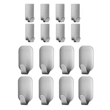 Load image into Gallery viewer, Latest adhesive hooks 16 pack 3m self adhesive wall hooks for key robe coat towel heavy duty stainless steel wall mount hooks for kitchen bathroom toilet