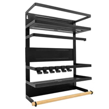 Load image into Gallery viewer, Products magnetic fridge spice rack organizer large with 6 utility hooks 4 tier mounted storage paper towel roll holder multi use kitchen rack shelves pantry wall laundry room garage matte black