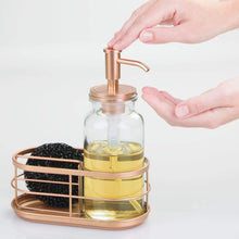 Load image into Gallery viewer, Kitchen mdesign modern glass metal kitchen sink countertop liquid hand soap dispenser pump bottle caddy with storage compartments holds and stores sponges scrubbers and brushes clear copper