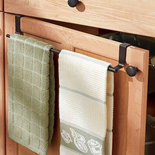 Load image into Gallery viewer, Amazon mdesign decorative kitchen over cabinet expandable towel bars hang on inside or outside of doors for hand dish and tea towels pack of 2 bronze finish