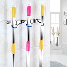 Load image into Gallery viewer, Buy now itafusa mop broom holder organizer 3 positions holder with 2 hooks wall mounted cleaning tools organizer rack space saver rakes holder stainless steel broom mop handle holder for kitchen garage