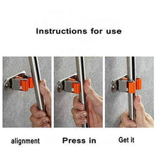 Load image into Gallery viewer, Products kkhouse 1pack heavy duty 304 stainless steel mop broom holder wall mount with hook gripper slot garden storage rack mop broom handle kitchen storage garage garden tools organizer 4position 5hooks