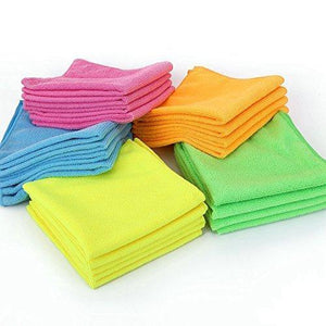 Order now microfiber cleaning cloth hijina pack of 20 size 12 x12 for cleaning tasks in the kitchen bathroom dining room and more plain 5 colors x 4