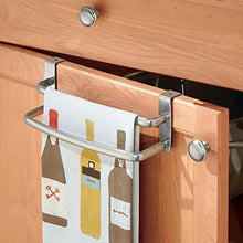 Load image into Gallery viewer, Buy mdesign modern kitchen over cabinet strong steel double towel bar rack hang on inside or outside of doors storage and organization for hand dish tea towels 9 75 wide silver finish