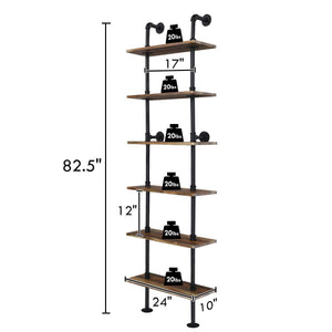 Selection giantex 6 tier industrial pipe shelves with wood rustic wall shelves vintage pipe wall shelf for bedrooms kitchens coffee shops or bar storage pickles wood grain