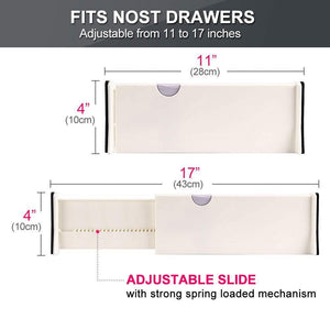Exclusive drawer dividers organizer 5 pack adjustable separators 4 high expandable from 11 17 for bedroom bathroom closet clothing office kitchen storage strong secure hold foam ends locks in place
