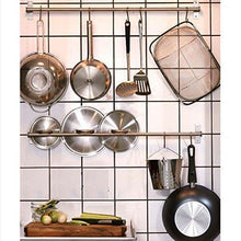 Load image into Gallery viewer, Top adtwixt stainless steel gourmet kitchen wall rail with 10 large s hooks 1