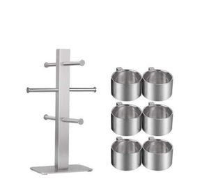 Exclusive lhfj 6 hooks mug holder cup hanger 304 stainless steel mug cup drying holder rack portable vertical kitchen cup mug organizer edition frame and 6 cups