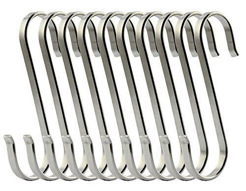 Exclusive ruiling 10 pack size large flat s hooks heavy duty genuine solid 304 stainless steel s shaped hanging hooks kitchen spoon pan pot hanging hooks hangers multiple uses