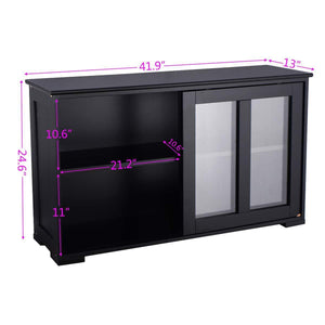 Amazon waterjoy kitchen storage sideboard stackable buffet storage cabinet with sliding door tempered glass panels for home kitchen antique black