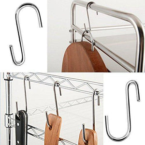 On amazon 40 pack heavy duty s hooks stainless steel s shaped hooks hanging hangers for kitchenware spoons pans pots utensils clothes bags towers tools plants silver
