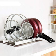 Load image into Gallery viewer, Discover advutils expandable pots and pans organizer rack for cabinet holds 7 pans lids to keep cupboards tidy adjustable bakeware rack for kitchen and pantry