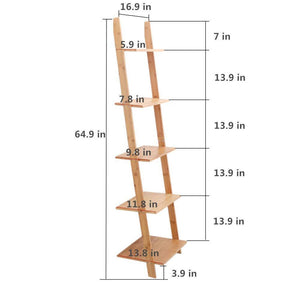 Related exilot natural bamboo ladder shelf 5 tier wall leaning bookshelf ladder bookcase storage display shelves for living room kitchen office multi functional plant flower stand shelf