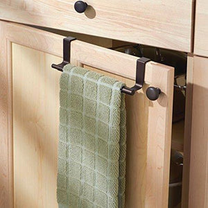 Shop for mdesign adjustable expandable kitchen over cabinet towel bar rack hang on inside or outside of doors storage for hand dish tea towels 9 25 to 17 wide bronze