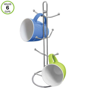 Storage evelots mug holder rack metal mug tree kitchen organizer holds 6 cups chrome 1