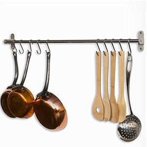 Discover the tevizz gourmet kitchen wall mount rail and hooks stainless steel pot pan lid holder rack