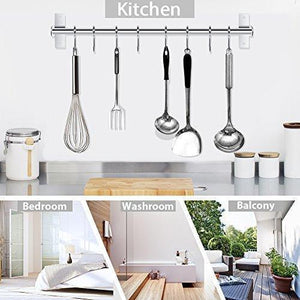 Discover the best lesfit utensil rack kitchen wall mounted stainless steel rack rail for hanging knives pot and pan with 8 removable hooks 20 inches