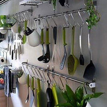 Load image into Gallery viewer, The best adtwixt stainless steel gourmet kitchen wall rail with 10 large s hooks 1