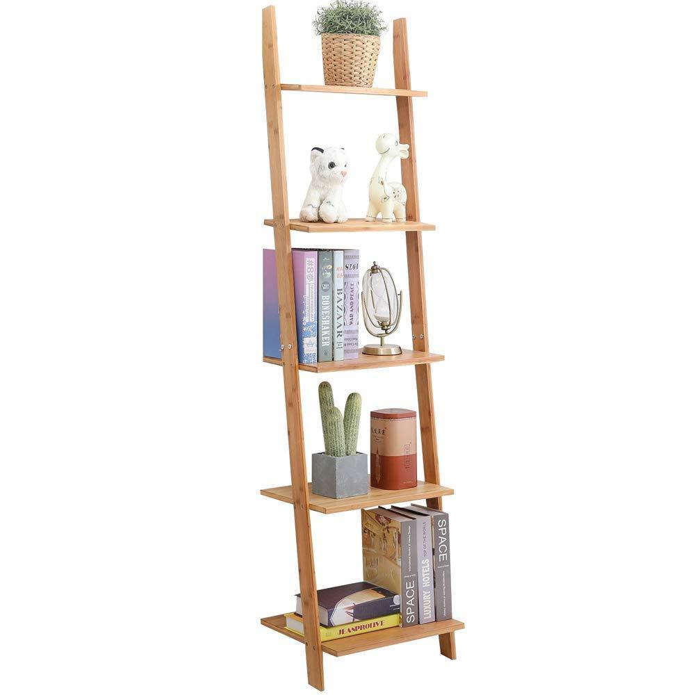 Purchase exilot natural bamboo ladder shelf 5 tier wall leaning bookshelf ladder bookcase storage display shelves for living room kitchen office multi functional plant flower stand shelf