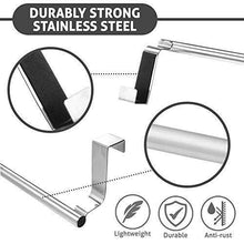 Load image into Gallery viewer, Budget over cabinet towel bar with hooks 14 brushed stainless steel towel rack for bathroom and kitchen with 22 lbs maximum load