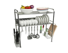 Load image into Gallery viewer, Storage dqmsb kitchen racks 304 stainless steel dish rack sink drain rack kitchen supplies storage rack dishes shelf knife rack drying rack