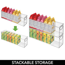 Load image into Gallery viewer, Products mdesign plastic stackable kitchen pantry cabinet refrigerator or freezer food storage bins with handles organizer for fruit yogurt snacks pasta bpa free 16 long 8 pack clear