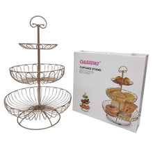 Load image into Gallery viewer, Amazon 3 tier metal wire fruit vegetable basket tower decorative fruit basket countertop stand kitchen counter produce organizer with top handle bronze pink