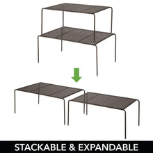 Load image into Gallery viewer, Discover the best mdesign adjustable metal kitchen cabinet pantry countertop organizer storage shelves expandable 4 piece set durable steel non skid feet bronze