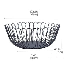 Load image into Gallery viewer, Best creative wire fruit dish basket bowl modern large black decorative table centerpiece holder for kitchen counters living room 10 62 inch petals