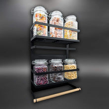 Load image into Gallery viewer, Organize with magnetic fridge spice rack organizer large with 6 utility hooks 4 tier mounted storage paper towel roll holder multi use kitchen rack shelves pantry wall laundry room garage matte black