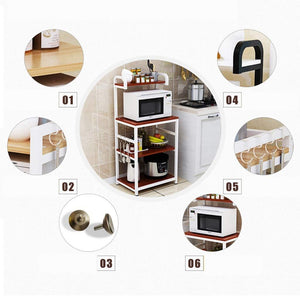 On amazon shelf microwave oven storage rack kitchen tableware shelves counter and cabinet 4 layer white color white size 132cm