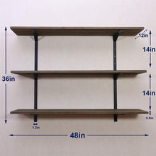 Load image into Gallery viewer, Budget friendly puncia 48 industrial long pine solid wood wall floating storage shelf farmhouse kitchen bar display wooden wall bookcase tool shelves 48in x 12in x 0 8in x 3 tiers l brown