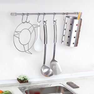 Try sumnacon pot pan rack with 7 hooks solid stainless steel rail kitchen cookware utensil pot rack hooks hanger 15 inch wall mounted heavy duty kitchenware lid towels storage organizer easy install