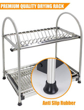 Load image into Gallery viewer, Discover the best kitchen hardware collection 2 tier dish drying rack stainless steel stand on countertop draining rack 17 9 inch length 16 dish slots organizer with drainboard for cup plate bowl