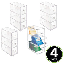 Load image into Gallery viewer, Storage mdesign plastic kitchen pantry cabinet countertop organizer storage station with 3 drawers for coffee tea sugar packets sweeteners creamers drink pods packets 4 pack clear