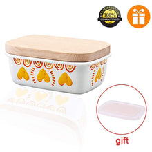 Load image into Gallery viewer, Buy now shineme butter dish with wooden lid enamel butter keeper butter container cheese storage holder used for kitchen counter or fridge white