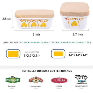 Explore shineme butter dish with wooden lid enamel butter keeper butter container cheese storage holder used for kitchen counter or fridge white
