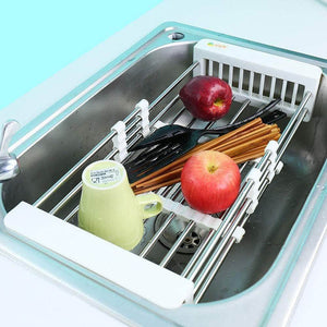 Select nice european stainless steel sink drain rack storage rack kitchen sink put dish rack tableware dish rack shelf kitchen storage