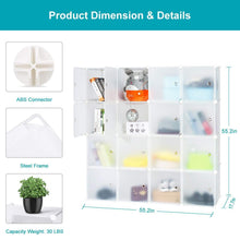 Load image into Gallery viewer, Online shopping honey home modular storage cube closet organizers portable plastic diy wardrobes cabinet shelving with easy closed doors for bedroom office kitchen garage 16 cubes white
